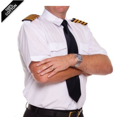 White Airline Pilot Shirt - Tailored Comfort Fit Short Sleeve