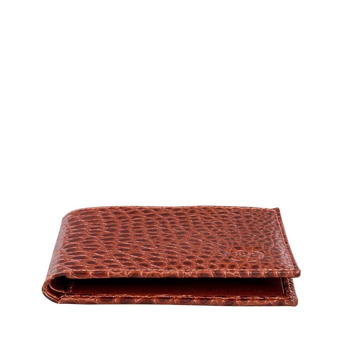 Maxwell Scott Mens Faux Crocodile Leather Wallet Vittore Croco Brown