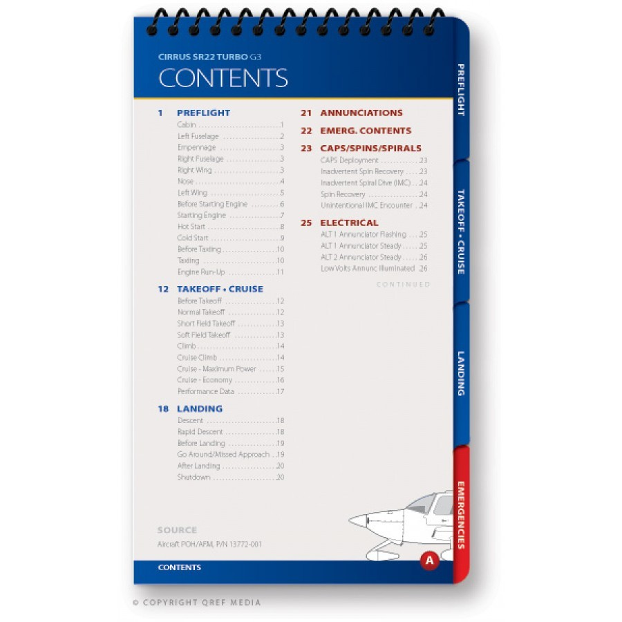 Cirrus SR22 G3 Quick Reference Aircraft Checklist Book by Qref
