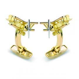 Deakin & Francis 18ct Gold Biplane with Rotating Propeller Cufflinks