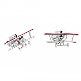 Deakin & Francis Sterling Silver Red Biplane Cufflinks with Rotating Propeller