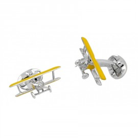 Deakin & francis Sterling Silver Yellow Biplane Cufflinks with Rotating Propeller