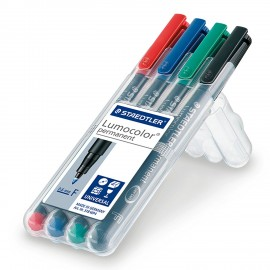 Lumocolour Universal Water Soluble Fine/Medium Tip Pens - Pack of 4 or 8