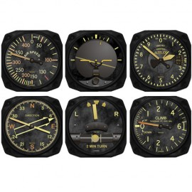 Vintage 6-Piece Aviation Flight Instrument Inspired Coaster Set