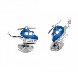 Deakin & Francis Sterling Silver Blue Helicopter Cufflinks