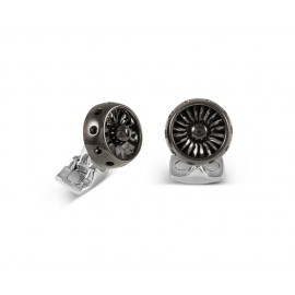 Deakin & Francis Jet Turbine Engine Cufflinks in Polished Black Rhodium