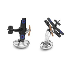Deakin & Francis Sterling Silver Bi Plane Cufflinks with Enamelled Propeller