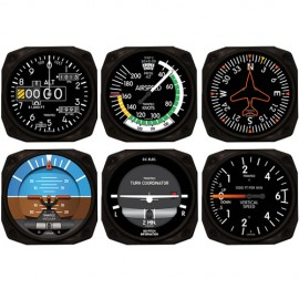 Modern 6-Piece Aviation Flight Instrument Inspired Coaster Set