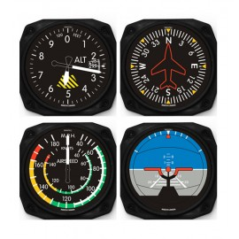 Classic 4-Piece Aviation Flight Instrument Coaster Set