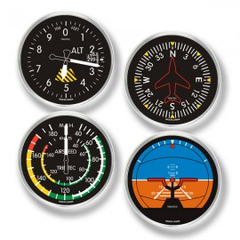 Modern 4-Piece Aviation Flight Instrument Round Coaster Set