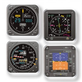 Modern 4-Piece Aviation Flight Instrument Square Coaster Set