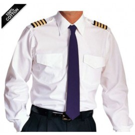 White Airline Pilot Shirt - Tailored Comfort Fit Long Sleeve